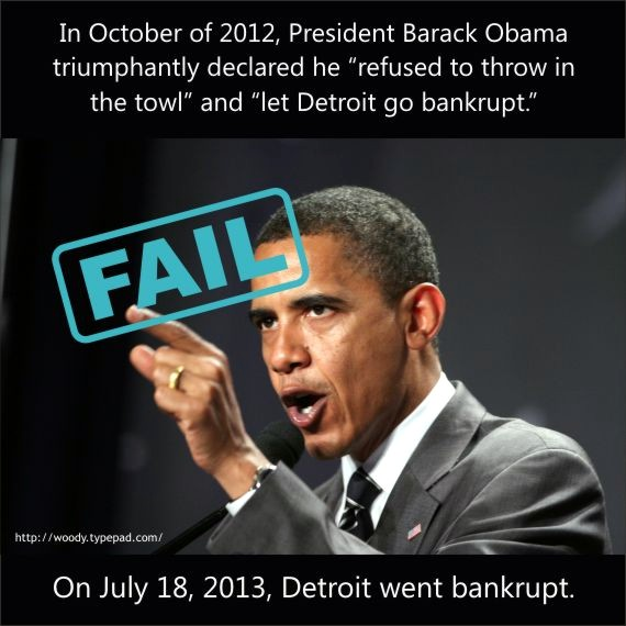 Obama let Detroit go bankrupt, after promising not to while campaigning.